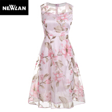 Newlan Pink Floral Dress Sleeveless O-neck 2018 Summer Casual Women Robe Mesh Dress Lining