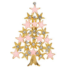 [COZIME] Pink Christmas Tree Brooch Delicate Alloy Crystal Rhinestone Pin Jewelry Gift Multi-Color