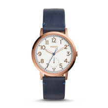 Fossil Everyday Muse - White Round Dial 40mm - Leather Strap - Navy Blue - Jam Tangan Wanita - ES4062