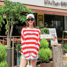 Women Korean O-neck Striped Casual Harajuku Style Long Sleeve Loose T-shirt XL