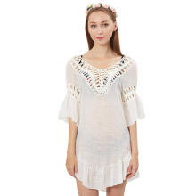 Farfi Loose Hollow Summer Top Wear Women Fashion U Backless Back Bandage Smock White One Size