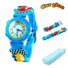 Keymao Car Waterproof 3D Cute Cartoon Silicone Wristwatches Gift for Little Girls Boy Kids Children Blue