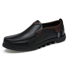 Zanzea Men Large Size Cow Leather Slip On Soft Casual Shoes Black 42
