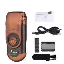 Kemei Portable Electric Shaver 3D Double Floating Rechargeable Beard Trimmer Razor Reciprocating Shaver