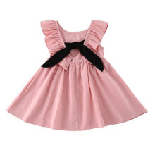 [COZIME] Baby Kid Girls Sleeveless Dress Solid Color Backless Bowknot Tutu Dress Pink1  80cm