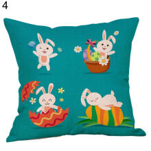 Farfi Easter Linen Square Rabbit Bunny Sofa Throw Pillow Case Waist Cushion Cover