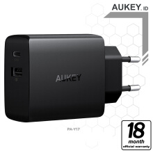 Aukey Charger 2 Ports 18W PD 2.0 & QC 3.0 - 500335 Black Frame with Grey