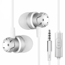 Jantens Metal stereo headphones with microphone earphones in-ear headphones hands-free bass audio White