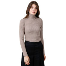FACTORY OUTLET LO1709-0007 Women Sweatshirt Ls Turtle Neck - Beige