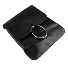 [LESHP]Candy Solid Color Handbag PU Shoulder Bag Metal Ring Decoration Clutch Purse Black