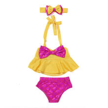 Farfi Swimsuit Baby Girl Fish Scale Pattern Briefs Bowknot Headband Outfit Set