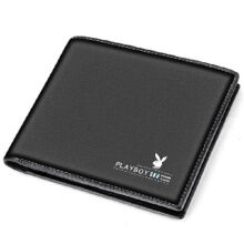 Playboy PAA1763-6B Men's multi-functional wallet Cowhide leather cross section multi-card casual men's wallet-black