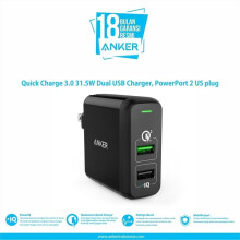 [free ongkir]Anker Wall Charger PowerPort 2 Quick Charge 3.0 Hitam - A2024111 - Hitam Black