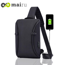 Mairu 3101 Infinite Tas Selempang Anti Maling Pria Travel Sling Bag Cross Body With USB Charger Support Black