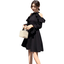 Jantens Black off-the-shoulder dress women fashion long trumpet sleeve A word pleated dress