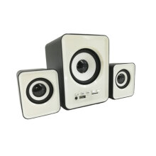 USB Computer Speakers Active Multimedia Stereo Subwoofer for Laptop/Desktop white