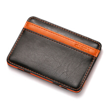 Zanzea 0051PU Money Card Clip Magic Wallet Casual Clutch Bus Card Bag Black