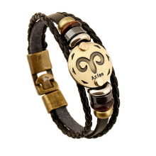 AOSCWALD Bronze Alloy Buckles Signs Bracelet Punk Leather Bracelet Wooden Bead Black Hematite(Pack of 2) Aries All Size