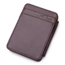 Zanzea 0051Men PU Magic Money Clip Coffee Black Short Card Holder Coffee