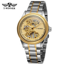 Winner New Design Men Watches Hand Wind Skeleton Black Golden Transparent Fashion Casual Mechanical Wrist Watch for Male