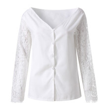 BESSKY Women's Solid Off Shoulder Patchwork Lace Insert Sleeve Shirt Tops Blouse_