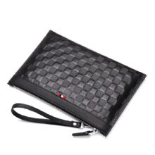 AIM S027 Simple large-capacity clutch bag leather envelope bag male hand bag holder bag-Black