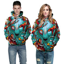 Farfi Fashion Men Women Colorful Print Wolf Hooded Sweatshirt Casual Hoodie Pullover