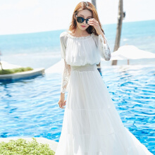 Allgood Fashion New Women dress Summer lace Splice Sleeve Strapless Wrapped Chest Beach long Dress