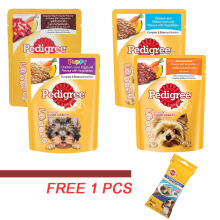 Pedigree Pouch 80gr (4Pcs) Free 1 pcs Pedigree Dentastix