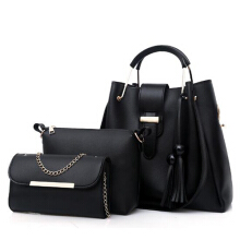 YOOHUI Women Leather Tote Handbag Shoulder Bag Lady Messenger Black