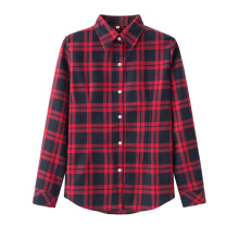 Jantens Fashion casual lapel large size women plaid shirt flannel shirt female long-sleeved shirt