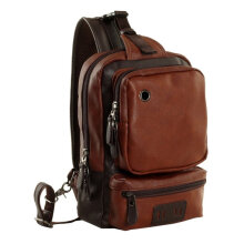 [COZIME] Men Outdoor PU Leather Satchel Bag Chest Bag Crossbody Single Shoulder Bag Brown