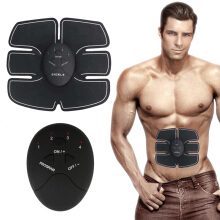 Chongbuck Smart Abdominal Muscle Stimulator Exerciser Trainer Device Muscles Weight Loss  Massager(Single belly sticker) Black Frame with Grey One Size