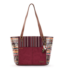 Sakroots Metro Satchel Bag Mulberry One World Multicolor
