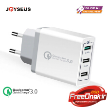 JOYSEUS QC3.0 USB Charger Adapter 3Post Fast Charger for Samsung Apple iphone Huawei Xiaomi Redmi Oppo VIVO White