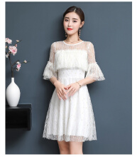 Ninataly Summer New Women Lace Dress Chic Fragrance Ruffled Boat Neck A-line Party Fairy Dress White S