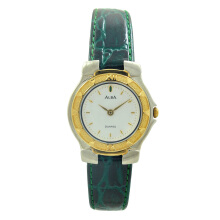 ALBA Jam Tangan Wanita - Green Silver Gold - Leather Strap - ATA50J