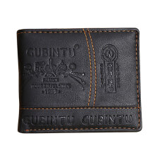 [LESHP]Ultra Thin GUBINTU Fashion Short Student Man Wallet PU Leather Purse Money Bag Black