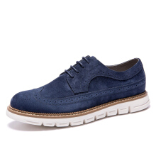 AOKANG 2018 New Arrival Men Shoes leather genuine men casual shoes comfortable flat shoes man breathable hard-wearing shoes navy