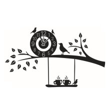 [kingstore] Unique Design Tree And Clock Pattern Wallpaper Removable Stickers Wall Decals Black