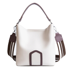 Keness F007 2018 hit color Messenger bag fashion wild handbag wide strap bucket bag Beige