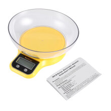 Electronic Digital Home Kitchen Food Scale 1g-5kg with Green Backlight Bowl Yellow