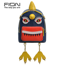 FION Jacquard with Leather Backpack - Blue & Orange Blue