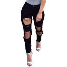 Jantens Summer style white hole ripped jeans Women jeggings cool denim high waist pants