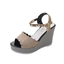 BESSKY Women Stripe Rhinestone Platform High Heels Sandals Buckle Slope Sandals_