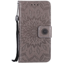 Sannic Apple iPhone 6 Plus Sun Flower PU Leather Casing Wallet Flip Phone Case Coque Stand Magnetic Skin Back Cover