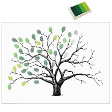 Fingerprints Painting Party Guest Signature Sign-in Book DIY Tree Canvas Green