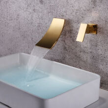 LANGFANJ-8008 Waterfall Bathroom Sink Faucet-Golden