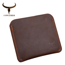 COWATHER Crazy horse leather men wallets Vintage genuine leather Thin wallet Brown