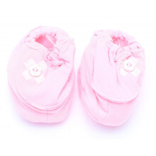 Cribcot Booties with Ribbon - Baby Pink & Broken White  3 -6M